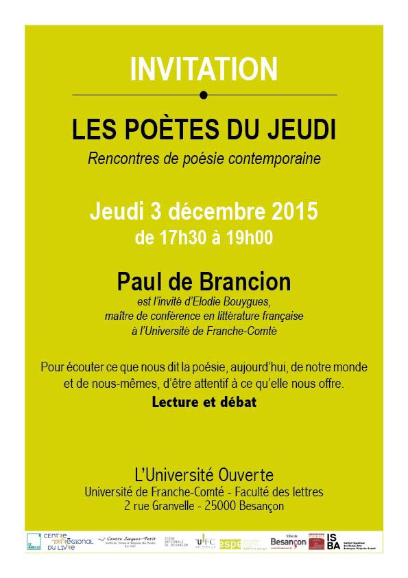Les poètes du jeudi Besancon